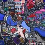 "Paris on my Mind | 40"" X 40"" |Acrylic on Canvas | 1993"