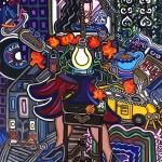 Walking City Style | 18 x 22 | Acrylic on Canvas | 2002