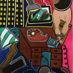 """All Tied Up   30"""" x 40""""   Acrylic on Paper   1979"""