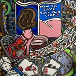 """Save your Life   18"""" X 24""""   Acrylic on Paper   2001"""