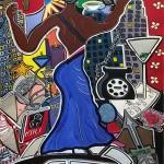 "Social Life   30"" X 40""   Acrylic on Paper   1998"