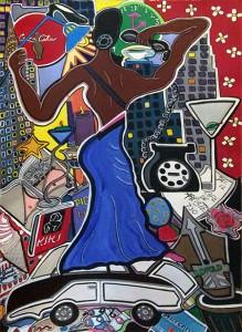 "Social Life | 30"" X 40"" | Acrylic on Paper | 1998"