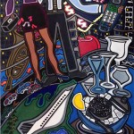 """Stepping Out   30"""" X 40""""   Acrylic on Paper   1991"""
