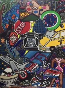 "Telephone Trauma | 30"" X 40"" | Acrylic on Paper | 1991"
