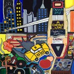 """The City in 1975   23"""" X 26""""   Acrylic on Paper   1975"""